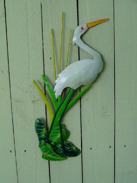 "18"" Metal White Egret Wall Decor"