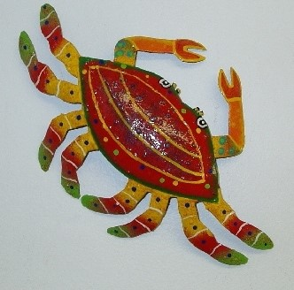 21in Metal Red Crab Wall Decor