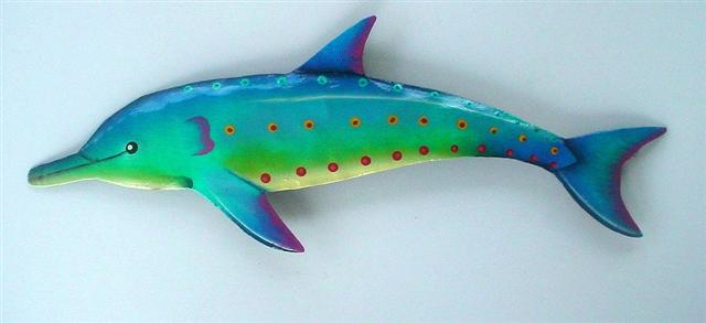 48in Metal Turquoise Metal Dolphin Wall Art
