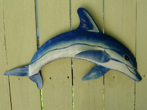 18in Metal Dolphin Wall Decor