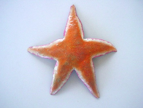 13in Metal Orange Star Fish Wall Accent