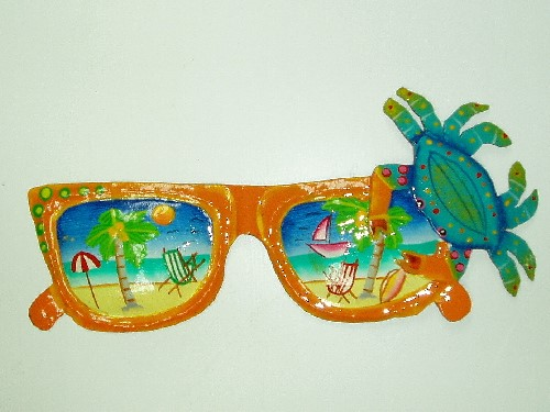 13in Orange Sunglasses with Teal Crab Wall Decor