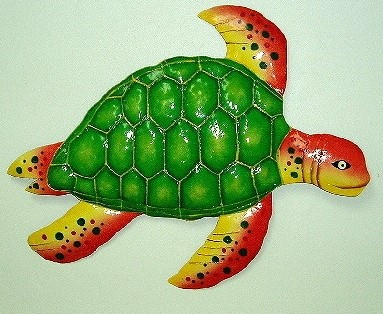 18in Metal Green & Orange Sea Turtle Wall Art