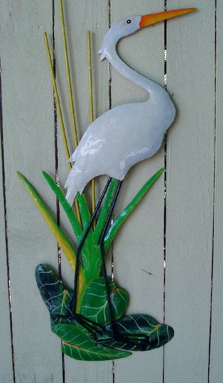 "44"" Large Metal White Egret Wall Art"
