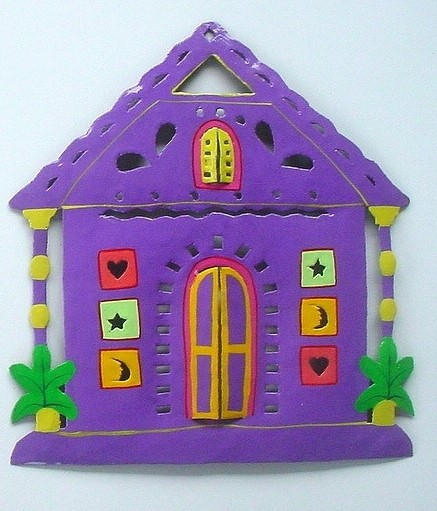 13in Metal Purple Gingerbread House Wall Accent