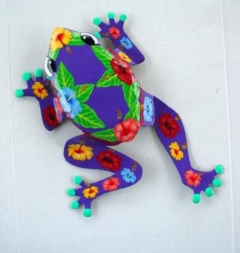 9in Metal Purple Hibiscus Frog Wall Accent
