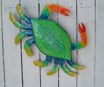 12in Green Metal Crab Wall Decor