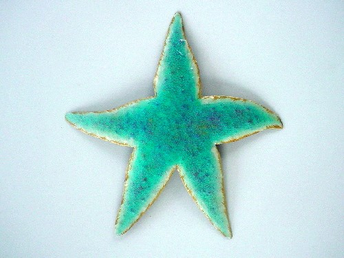 13in Metal Teal Star Fish Wall Accent