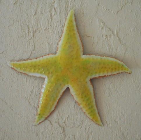 18in Metal Yellow Starfish Wall Art