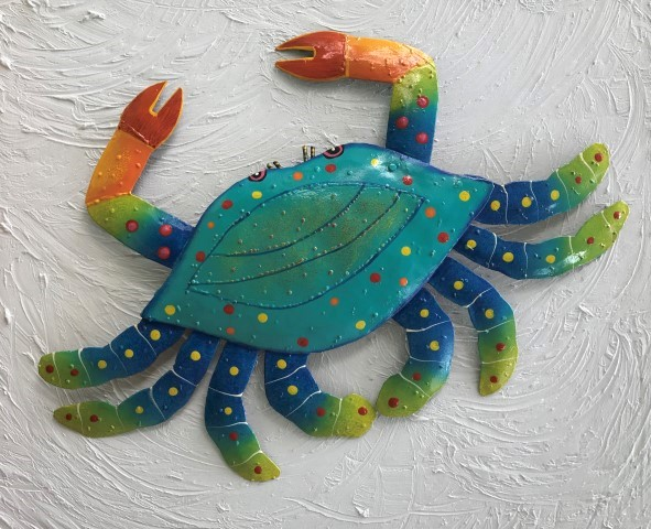 21in Metal Teal Crab Wall Decor