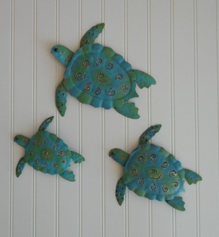 Turtle Wall Decor 3pc metal sea turtle wall decor [ph-s599] - $22.99 : pottery house