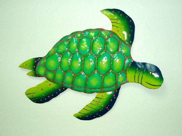 Turtle Wall Decor 18 metal green & blue sea turtle wall art [ph-m600lgb] - $29.69