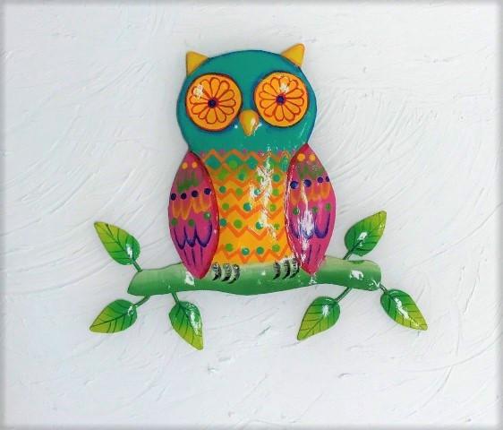 13in Colorful Metal Owl Wall Art