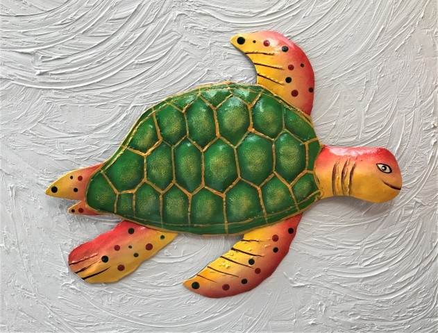 18in Metal Green & Orange Sea Turtle Wall Art [PH-M600LGYO] - $37.99 ...
