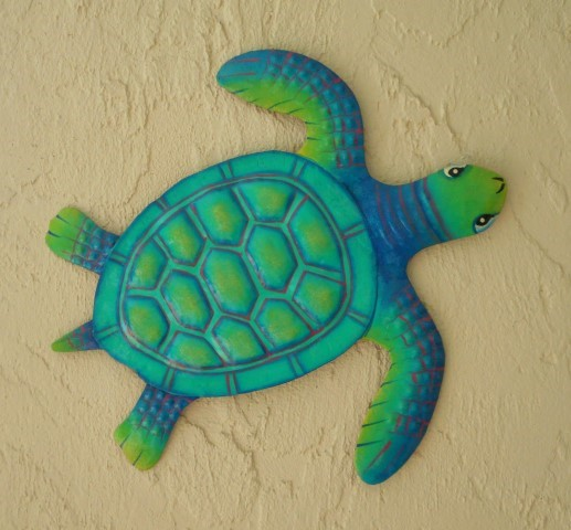 Favorite 36in XL Teal Metal Baby Sea Turtle Wall Decor [PH-M601XLTL  KO35